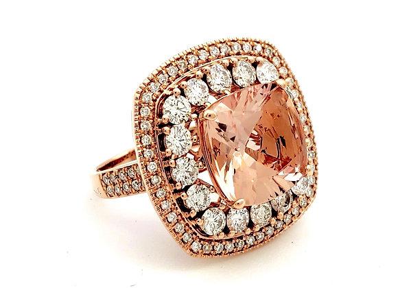 MORGANITE AND WHITE DIAMOND RING