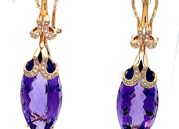 AMETHYST AND WHITE DIAMOND EARRING