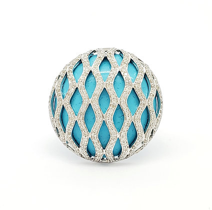 TURQUOISE AND WHITE DIAMOND RING
