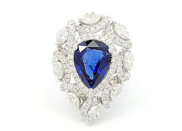 PEAR SHAPE CEYLON SAPPHIRE AND DIAMOND RING