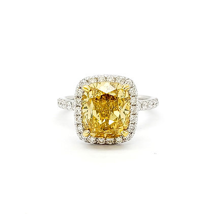 CUSHION CUT FANCY BROWNISH YELLOW DIAMOND RING