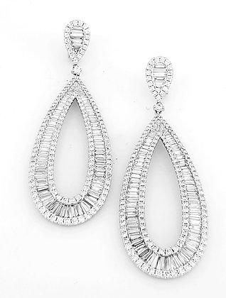 WHITE DIAMOND CHANNEL SET EARRINGS