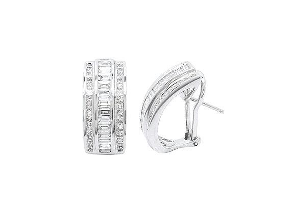 BAGUETTE CHANNEL SET DIAMOND EARRINGS