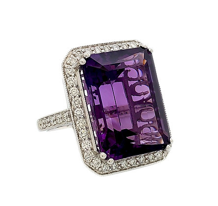 EMERALD CUT AMETHYST AND DIAMOND RING