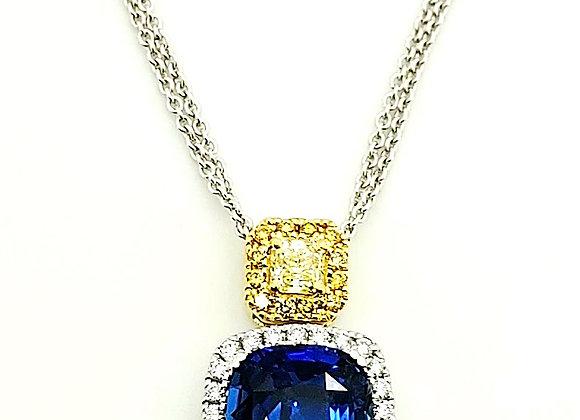 CEYLON SAPPHIRE AND YELLOW DIAMOND PENDANT