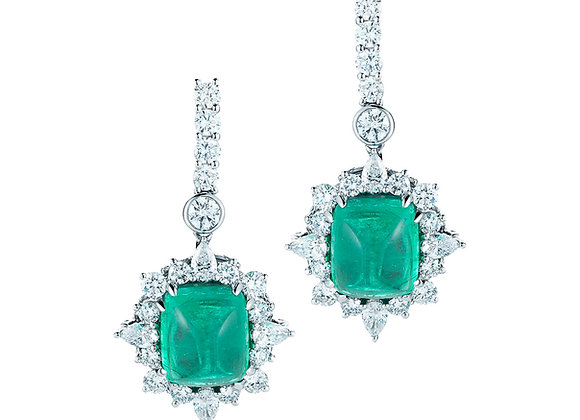 EMERALD AND WHITE DIAMOND EARRINGS