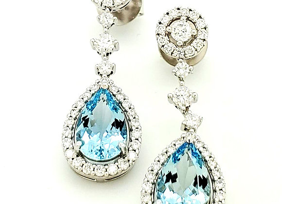 PEAR SHAPE AQUAMARINE AND DIAMOND EARRINGS