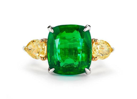 Cushion Cut Emerald and Diamond Ring