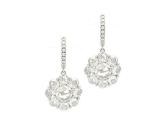 ROSE CUT WHITE DIAMOND EARRINGS
