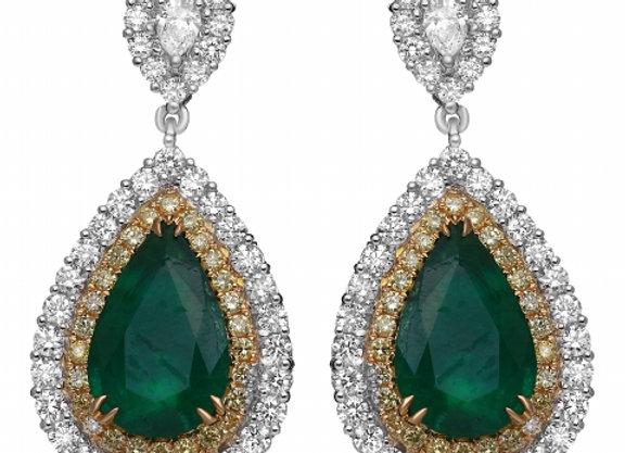 PEAR SHAPE EMERALD AND DIAMOND EARRINGS
