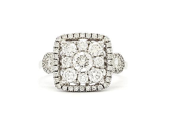 WHITE DIAMOND CLUSTER RING