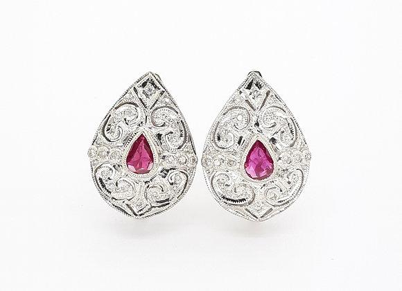 RUBY AND WHITE DIAMOND EARRINGS