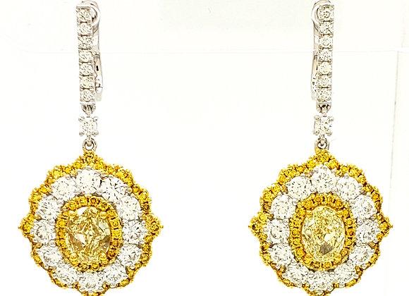 OVAL CUT YELLOW DIAMOND EARRINGS
