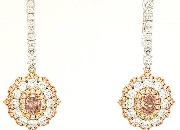 OVAL PINK DIAMOND EARRINGS