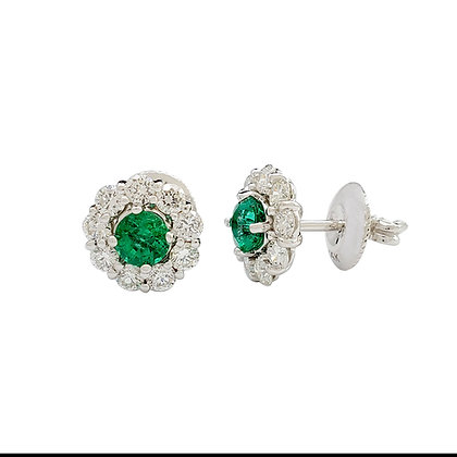 ROUND EMERALD AND DIAMOND STUDS EARRINGS