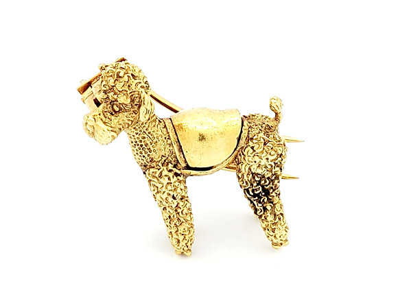YELLOW GOLD POODLE PIN
