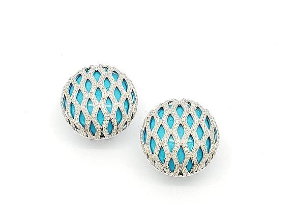 TURQUOISE AND WHITE DIAMOND EARRINGS
