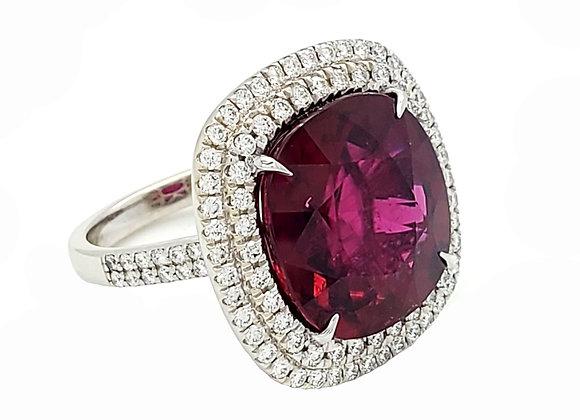 RUBELITE AND WHITE DIAMOND RING