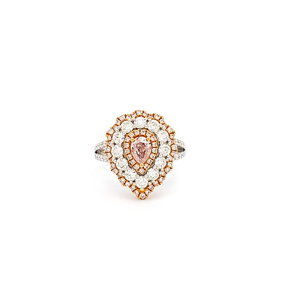 PEAR SHAPE PINK AND WHITE DIAMOND RING