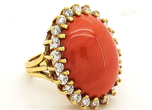 CORAL AND WHITE DIAMOND RING