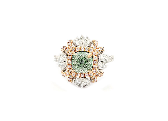 CUSHION FANCY GREEN DIAMOND RING