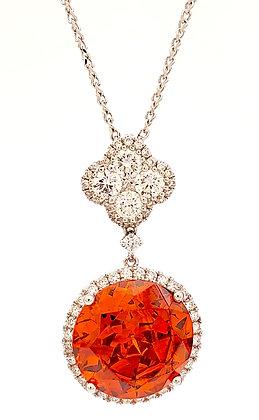 ORANGE SPHALERITE AND DIAMOND PENDANT
