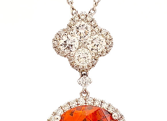 ORANGE SPHALERITE AND DIAMOND PENDANT