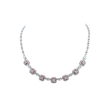 FANCY PINK AND WHITE DIAMOND NECKLACE