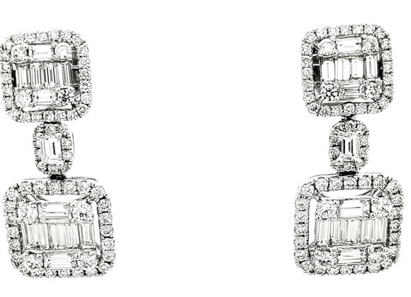 WHITE DIAMOND MOSAIC EARRINGS