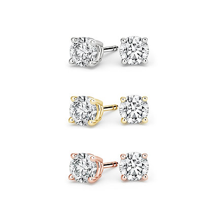 Round White Diamond Stud Earrings