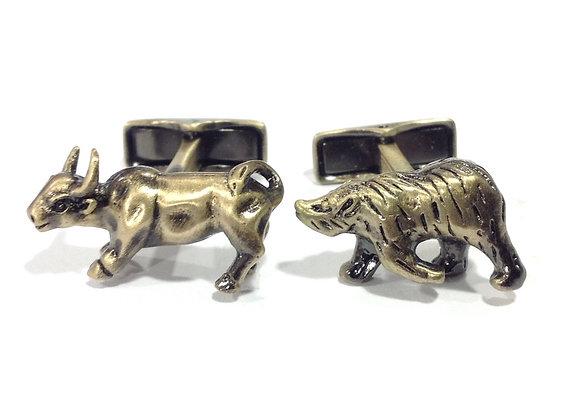 ANTIQUE GOLD BEAR&BULL CUFFLINKS IR-C.COM