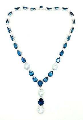 LONDON BLUE TOPAZ AND SOUTH SEA BAROQUE PEARL NECKLACE