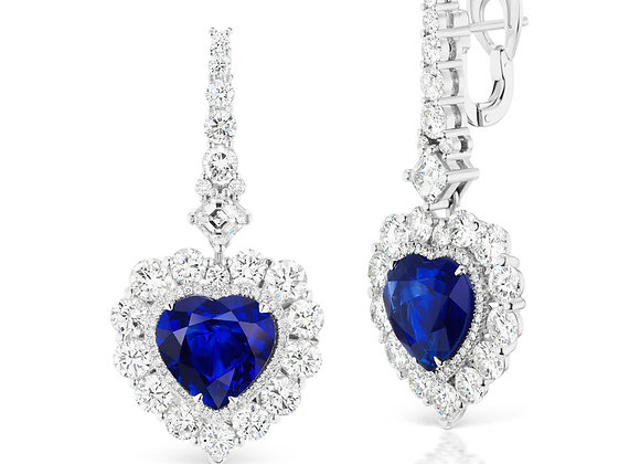 HEART SHAPE SAPPHIRE AND DIAMOND EARRINGS