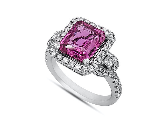 RADIANT CUT PINK SAPPHIRE AND DIAMOND RING