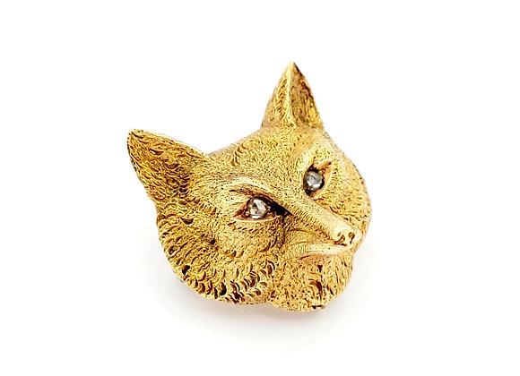 ANTIQUE YELLOW GOLD FOX PIN