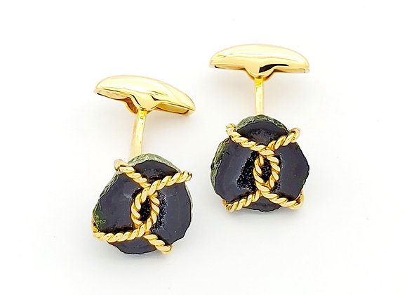 AGATE AND GOLD WIRE CUFFLINKS