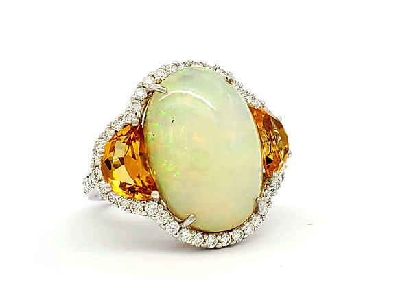 OPAL AND CITRINE DIAMOND RING