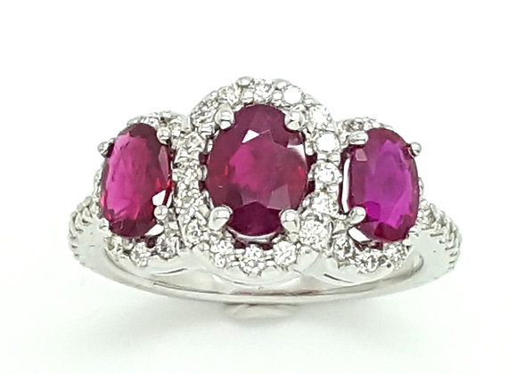 TRIPLE OVAL RUBY AND DIAMOND RING