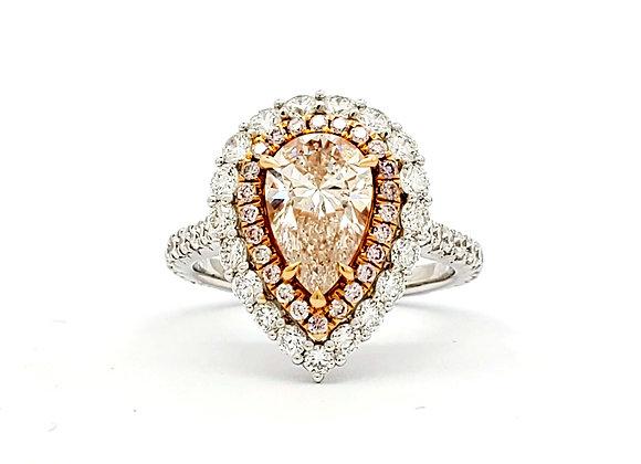 PEAR SHAPE PINK DIAMOND RING