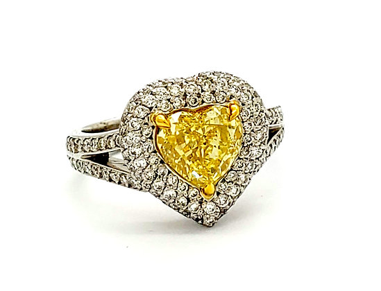 HEART SHAPE FANCY YELLOW DIAMOND RING