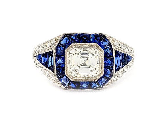 ASSCHER CUT ART DECO DIAMOND RING