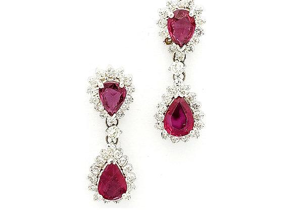 PEAR SHAPE RUBY AND DIAMOND EARRINGS