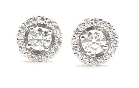 WHITE DIAMOND HALO STUD EARRINGS