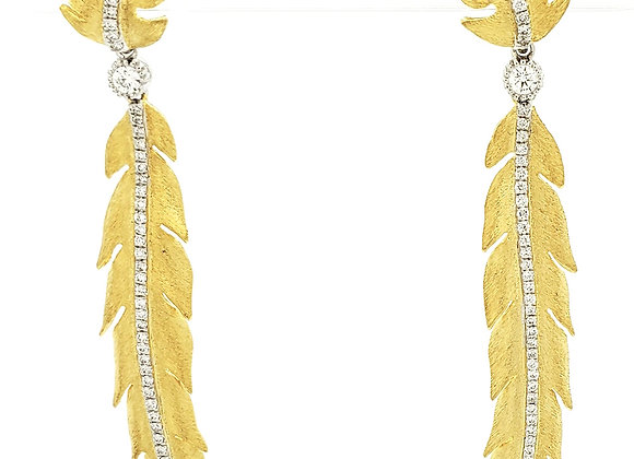 YELLOW GOLD AND DIAMOND LEAF EARRINGS
