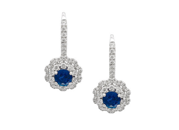 ROUND SAPPHIRE AND DIAMOND EARRINGS