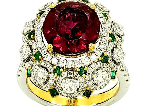 RUBELITE AND EMERALD DIAMOND RING