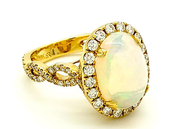 OPAL AND WHITE DIAMOND RING