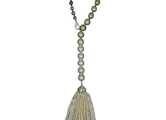 TAHITIAN AND GOLDEN SOUTH SEA OPERA NECKLACE WITH TASSLE