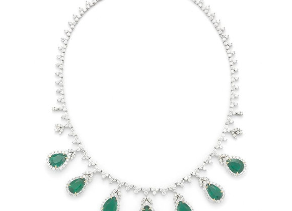 PEAR SHAPE MERALD AND DIAMOND NECKLACE