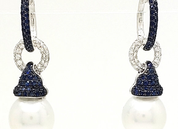 SOUTH SEA PEARL AND SAPPHIRE EARRINGS